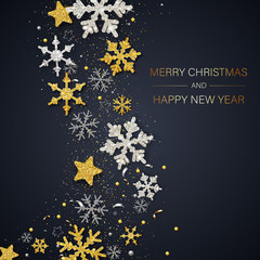 Merry Christmas and Happy New Year card with shiny snowflakes and stars.