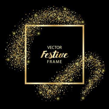 Luxury and Golden Glitter Square Festive Frame