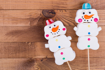 Marshmallow snowmen, place for text