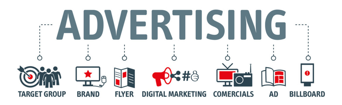 Advertising vector illustration concept with icons