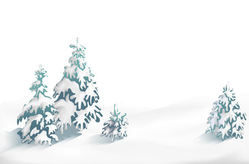Winter background with snowdrift and fir trees. Banner, Winter is near, winter sales, blizzard, snow, snowflakes.