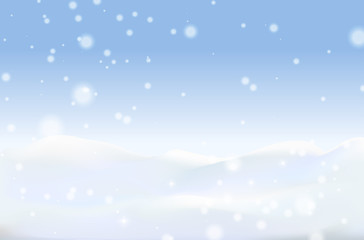 Winter background with snowdrift and fir trees in vector. Banner, Winter is near, winter sales, blizzard, snow, snowflakes.