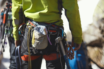 Climbing gear and equipment closeup.
