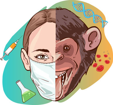 science woman and monkey vector illustration