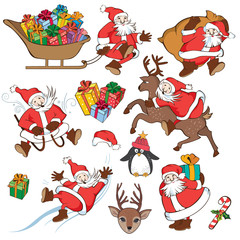 Christmas set with Santa Claus. Vector illustration in cartoon style