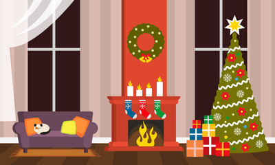 Happy Holidays greeting card or poster. The interior of the living room on Christmas Eve - a sofa, fireplace, Christmas tree with gifts. flat vector illustration isolated