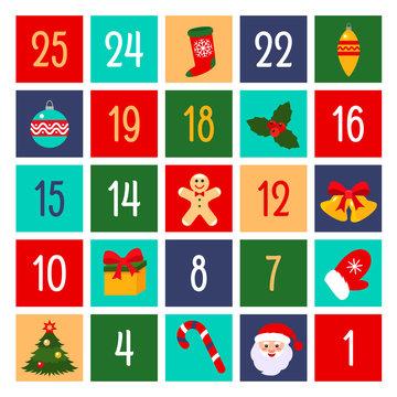 Flat design of fun advent calendar. vector illustration. Christmas holidays concept