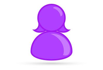 purple female lesbian bisexual profile picture, silhouette profile avatar icon symbol