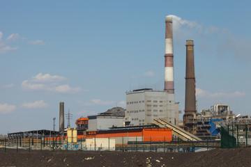 Chimneys of copper smelting plant. Karabash zone of ecological disaster.