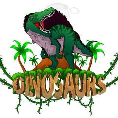 Logo  Dinosaurs World with Spinosaurus. Vector illustration.