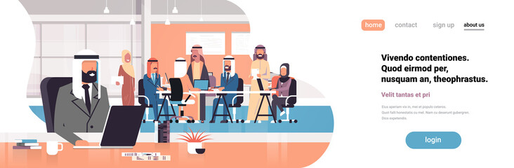 arab man boss using laptop workplace over arabic team brainstorming meeting group people sitting together office communication flat horizontal banner copy space
