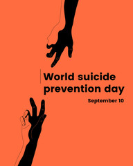 Minimalistic World Suicide Prevention Day (September 10) illustration with two hands, moving towards each other. Colorful vector illustration for web and printing.