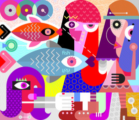 Keuken foto achterwand Abstractie Art Women and Fish vector illustration