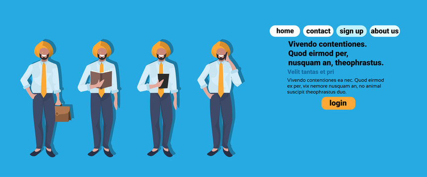 indian businessmen phone calling reading book tablet phone calling national traditional clothes male collection horizontal cartoon character full length copy space flat
