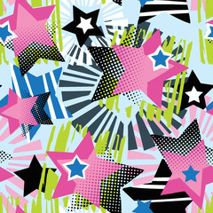 Star shapes graffiti seamless hand craft expressive ink hipster pattern.