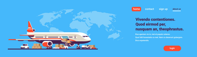 transport airplane express delivery preparing flight aircraft airport air cargo international transportation concept world map background copy space flat horizontal banner vector illustration