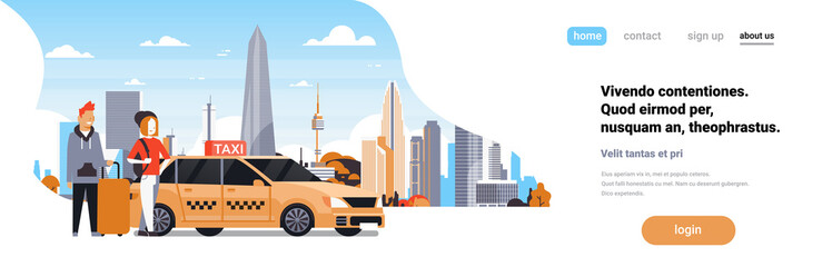 Passengers couple order yellow taxi service sit in car cab over cityscape background man woman cartoon character horizontal banner copy space