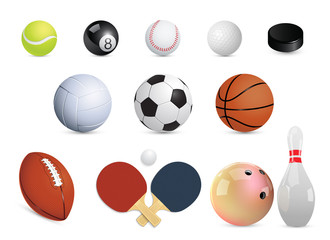 A set of sports balls. Vector illustration.