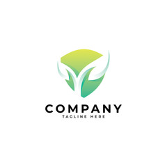 Modern nature security logo, green leaf and shield vector icon