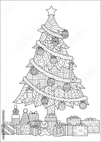 Christmas Tree Presents And Ornaments Drawing For Cards And Coloring