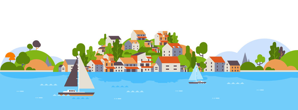 boats over beach seaside island houses hotels background sea yacht coast summer vacation concept flat horizontal banner