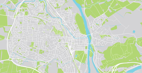 Urban vector city map of Perth, Scotland