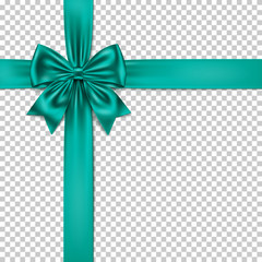 Virid gift bow and ribbon isolated on transparent background.