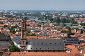 Germany, Baden-Wuerttemberg, Heidelberg, Neckar river, City view with Church of the Holy Spirit