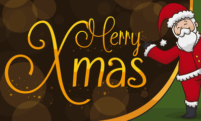 Happy Santa Claus Celebrating a Magic Christmas, Vector Illustration