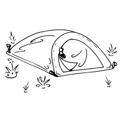 Tourist tent. Vector illustration of a camping tent. Hand drawn tent for hiking and tourism.
