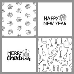 New year and Christmas holidays seamless patterns and cards.