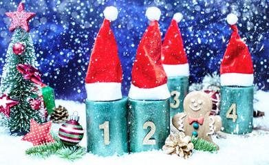 2.Advent Kerze Weihnachsmütze Romantisch Sternenhimmel Panorama