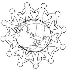 hand-drawn image of men standing around the globe