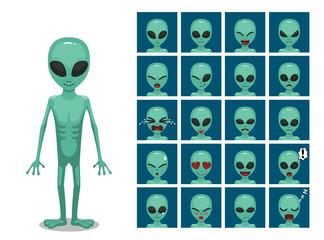 Green Big Eye Extraterrestrial Alien Cartoon Emotion faces Vector Illustration Wall mural