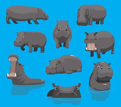 Hippopotamus Yawning Cute Cartoon Vector Illustration