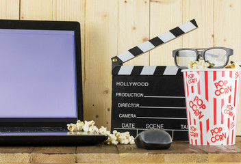 Popcorn and Laptop Playing Movie
