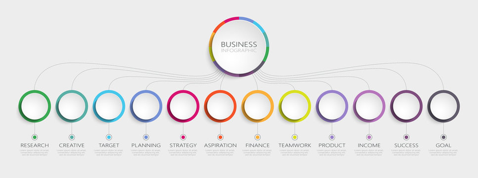Abstract 3D Infographic Template with 12 steps for success. Business circle template with options for brochure, diagram, workflow, timeline, web design. Vector EPS 10