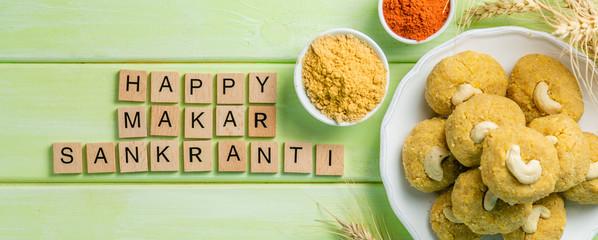 Makar Sankranti festival card - symbols