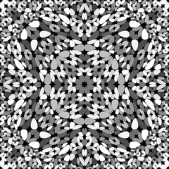 Grey abstract seamless gravel kaleidoscope pattern wallpaper - tribal vector graphic design