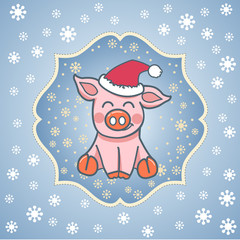 postcard template  pig in a hat