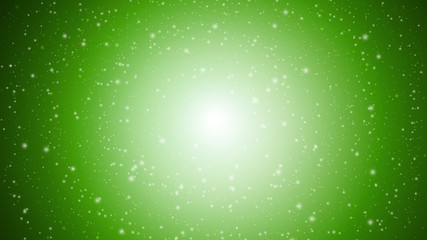 Green sparkle rays lights with bokeh elegant abstract background. Dust sparks background.