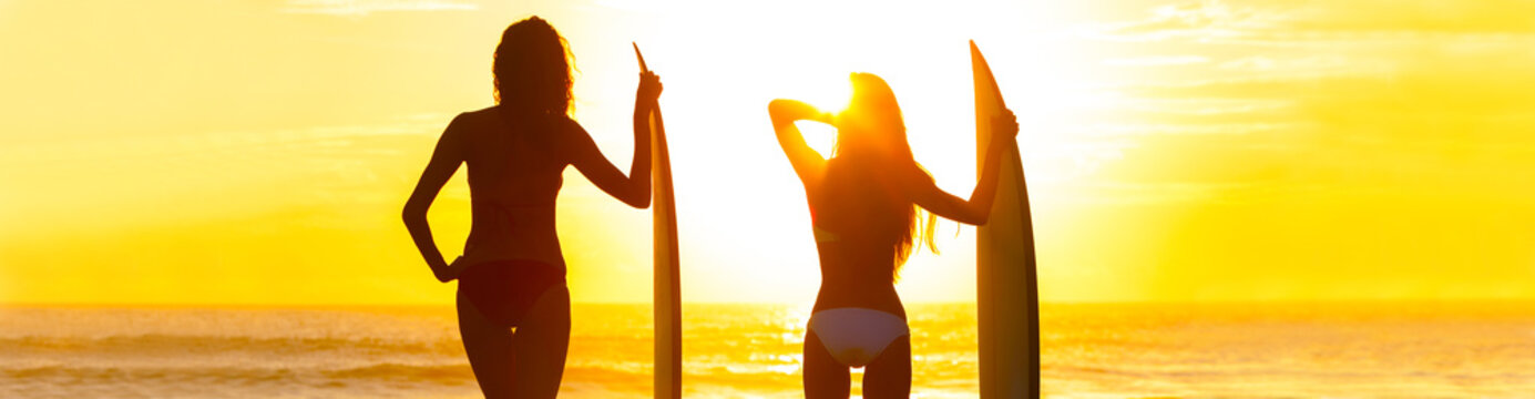Panorama Bikini Surfer Women Girls Surfboards Sunset Beach
