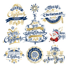 2019 Christmas and New year labels and borders. Decoration set of calligraphic design with typographic labels, and icons elements for you. Hand drawn authors work.  Merry Christmas emblems.