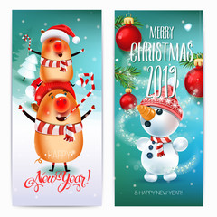 2019 Merry Christmas & New Year banners. Pig on winter landscape  the symbol of 2019 year Christmas tree in a snowy meadow. Invitation card and holiday template.Vector