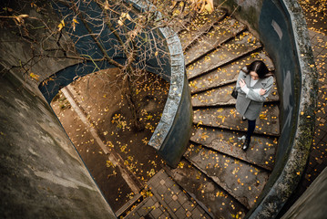 Beautiful young girl in a gray coat outdoors. Ladder strewn with autumn leaves