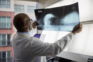 Doctor looking at an x ray