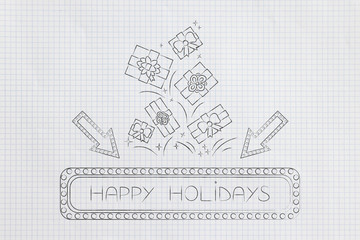 happy holiday sign with arrows and lights and groups of presents flying out of it