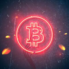 neon sign bitcoin sparks