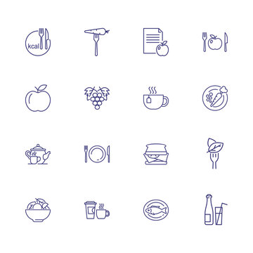 Vegetarian icons. Set of line icons. Calorie, grape, salad, fish. Dieting concept. Vector illustration can be used for topics like food, meal, healthy eating