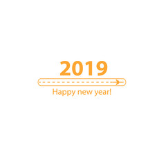 Creative happy new year 2019 design with Progress loading bar with airplane is in a dotted line. The flying apartment is black. The waypoint is for a tourist trip. Track on a white background. Vector